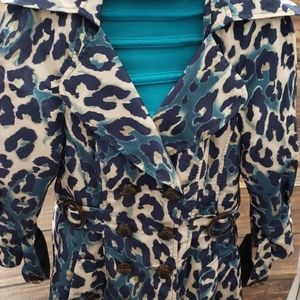 Nanette Lepore leopard print trench coat